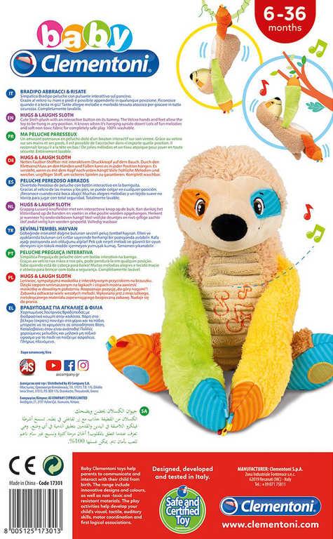 CLEMENTONI PLYŠ Baby Lenochod interaktivní naučný Zvuk pro miminko