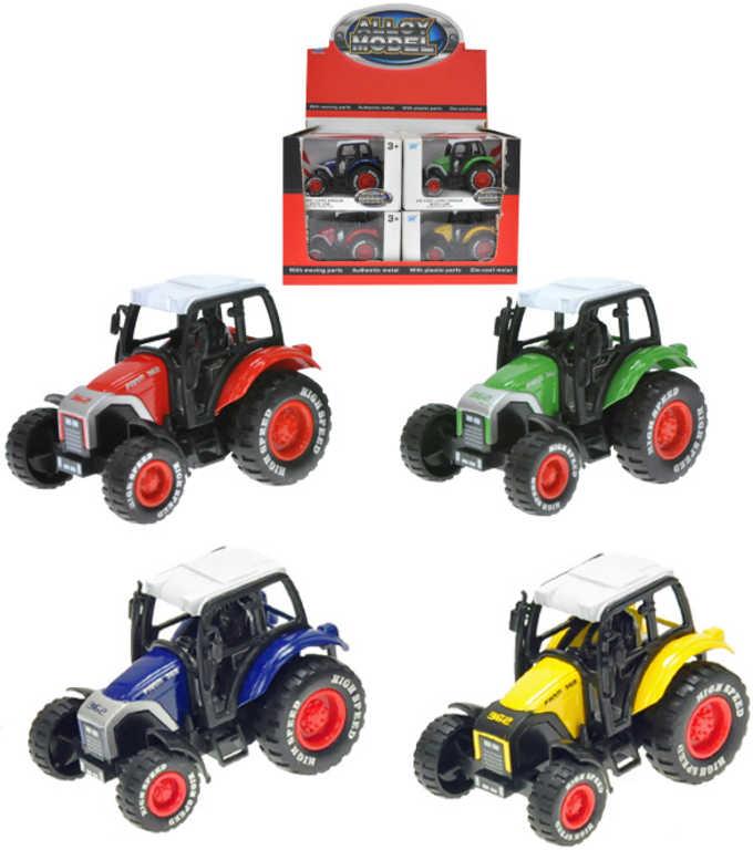 Traktor 8 cm kovový na zpětný nátah 4 barvy