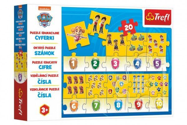 Teddies Vzdělávací puzzle Tlapková patrola, čísla, 20 dílků