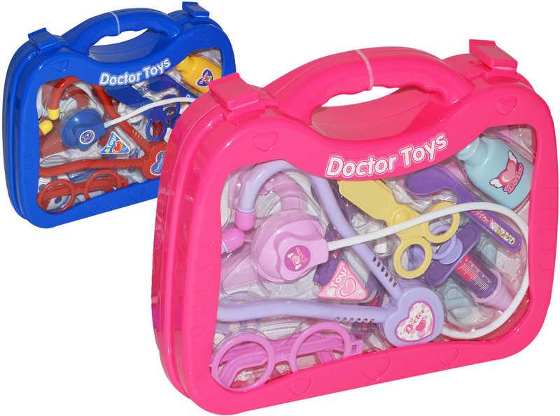 Doktorský kufřík průhledný set se stetoskopem a doplňky 26 cm 2 barvy PLAST