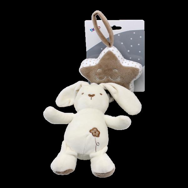Závěsná plyšová hračka Tulilo s melodií Králiček, 35 cm - smetanový