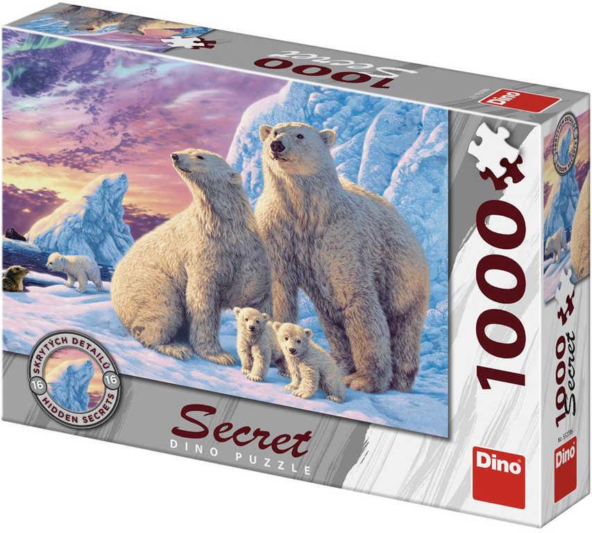 DINO Puzzle 1000 dílků Lední medvědi skrytá tajemství 66x47cm skládačka
