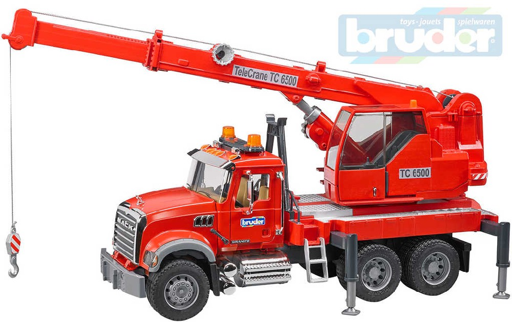 BRUDER 02826 Auto jeřáb funkční červený Mack hasiči