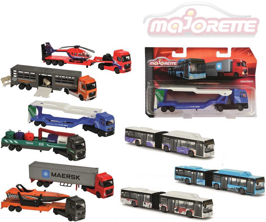 MAJORETTE Autobus kloubový / nákladní auto s přívěsem volný chod kov 9 druhů