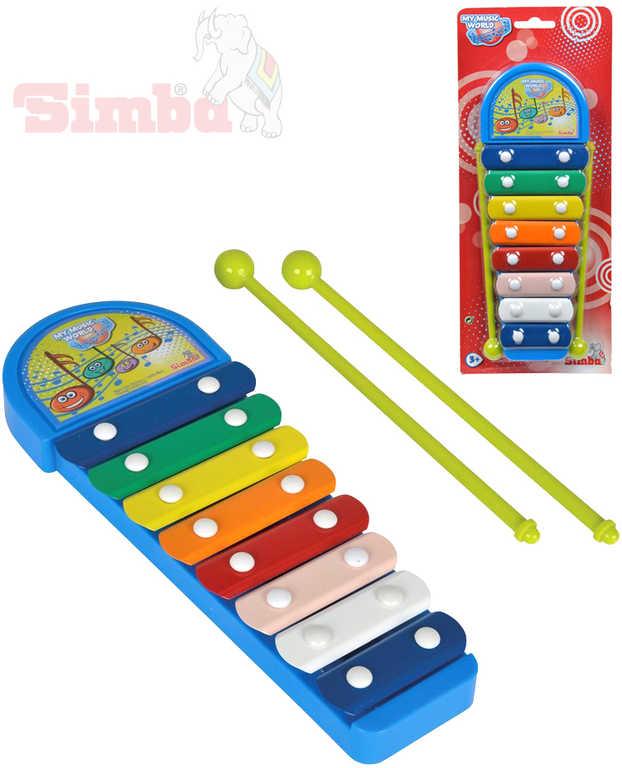 SIMBA Xylofon dětský modrý 8 kláves set se 2 paličkami *HUDEBNÍ NÁSTROJE*