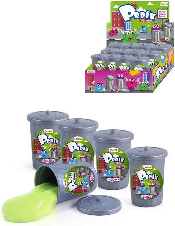 Prdík hmota prdící v plastové popelnici dětská žertovinka různé barvy