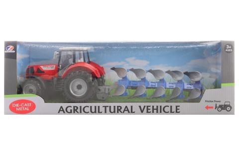 Traktor s orným pluhem
