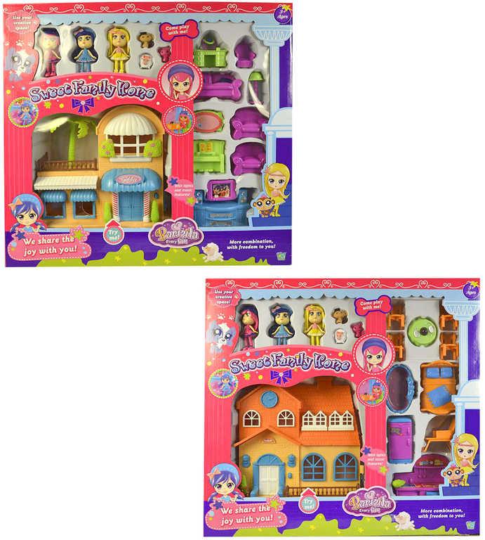 Domek pro panenky herní set s figurkami a doplňky na baterie různé druhy