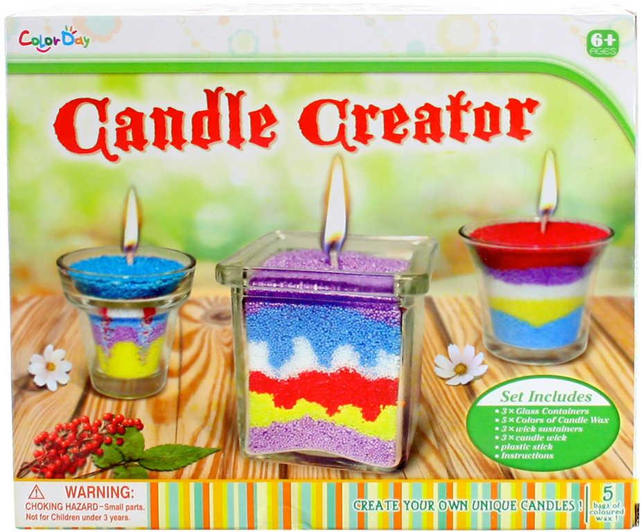 Výroba svíček kreativní set s barevným voskem a 3 nádobkami