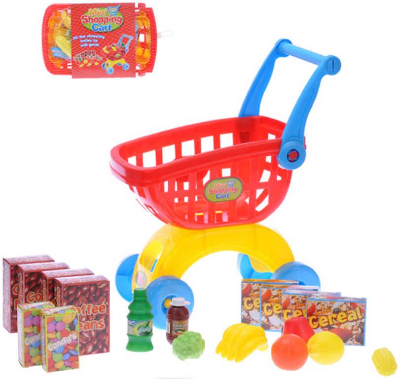 Vozík dětský nákupní košík sada 18ks v síťce s potravinami plast