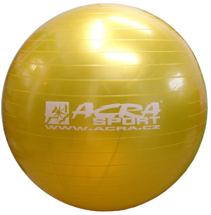 ACRA Míč gymnastický žlutý 65cm fitness balon rehabilitační do 130kg