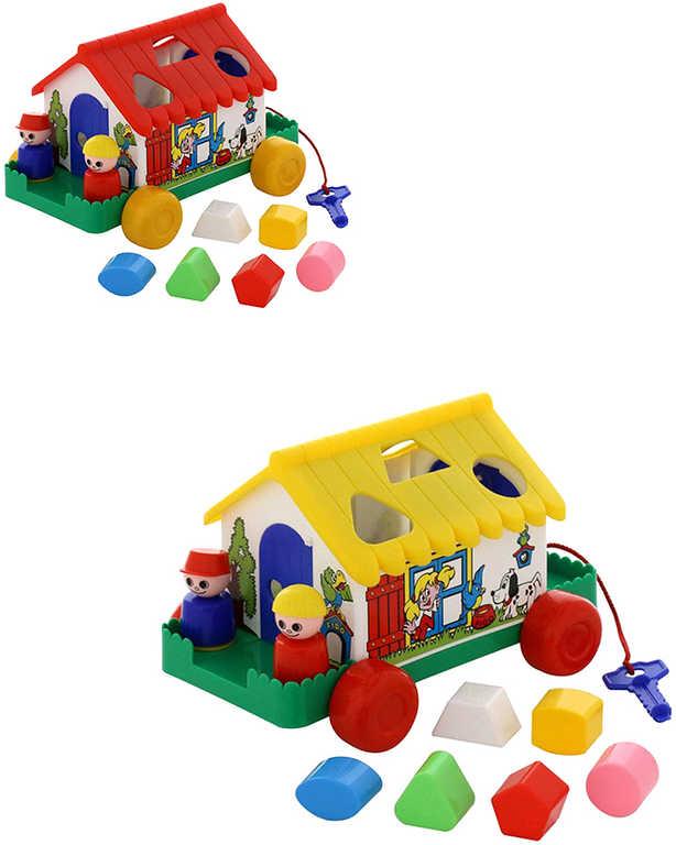 Baby domeček didaktický set chaloupka s vkládacími tvary na klíček 2 barvy