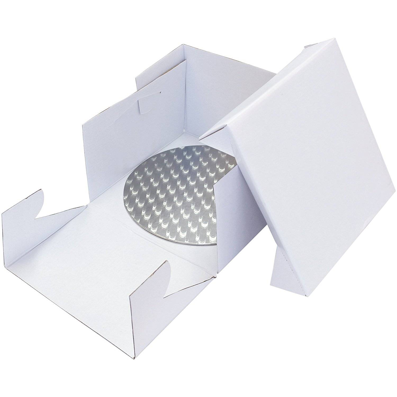 Podložka dortová stříbrná kruh průměr 22,8cm + dortová krabice