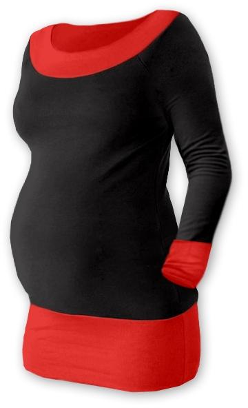 Těhotenska tunika DUO - černá/červená