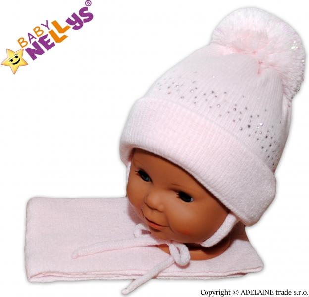 Baby Nellys Zimní čepička s bambulí a šálou - sv. růžová s kamínky - 6/18měsíců
