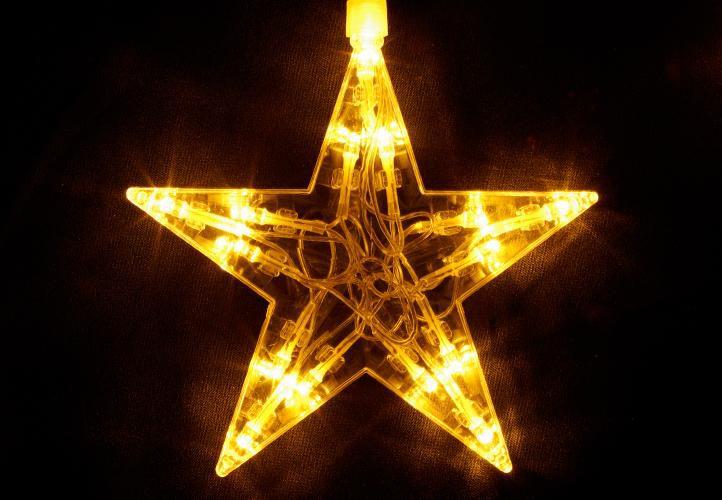 Vánoční dekorace - Svítící hvězdy - 100 LED diod teple bílé