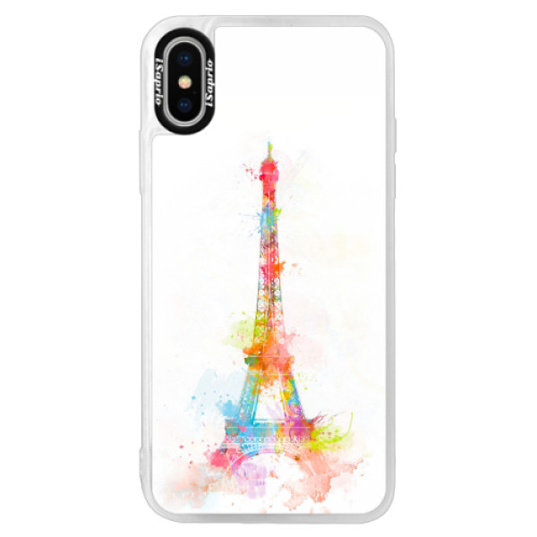 Neonové pouzdro Pink iSaprio - Eiffel Tower - iPhone XS