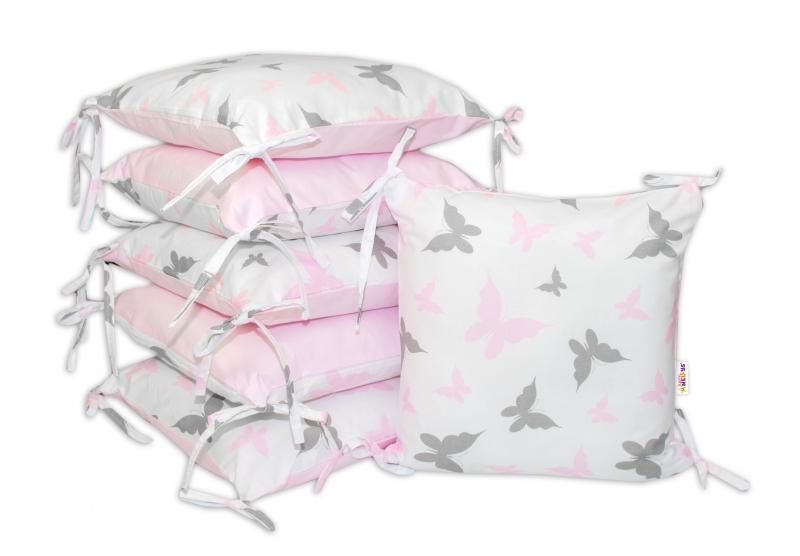Bavlněný polštářkový mantinel Baby Nellys, Motýlci - růžový