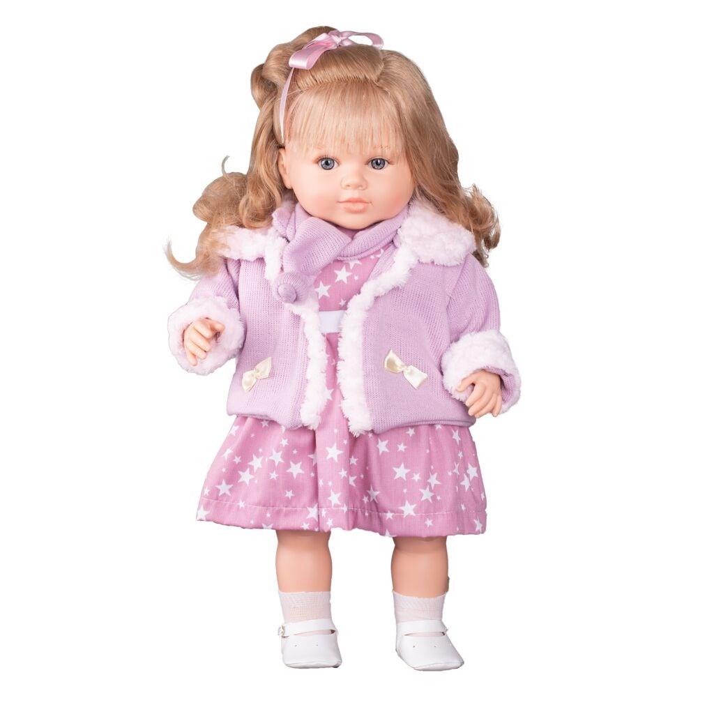 Luxusní mluvící dětská panenka-holčička Berbesa Kristýna 52cm - růžová