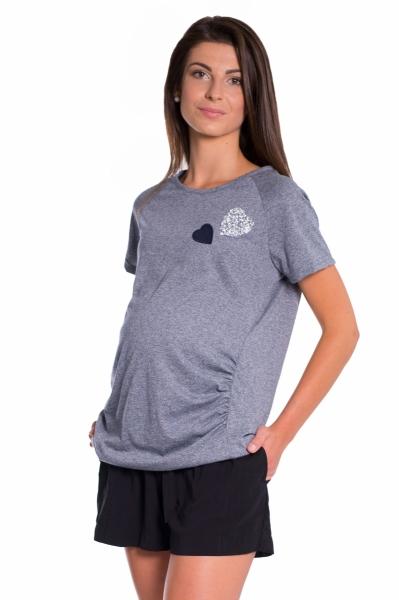 Be MaaMaa Těhotenské triko kr. rukáv - granát - XS (32-34)