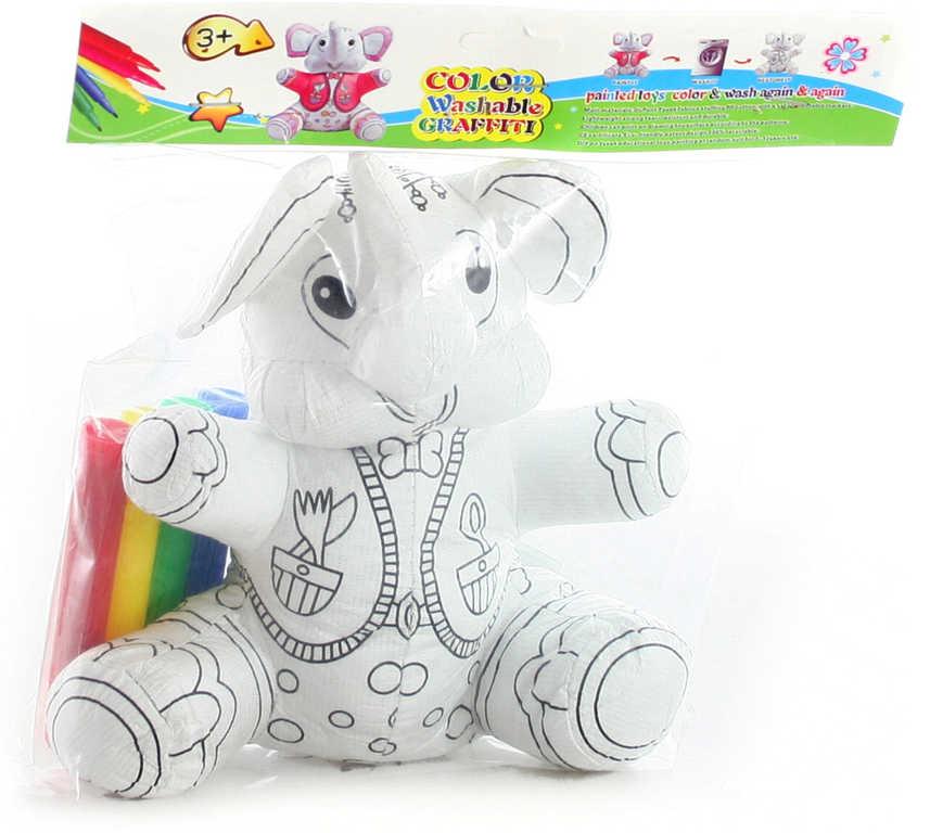 Vymaluj si svého slona kreativní set vybarvovací zvířátko + 4 fixy v sáčku
