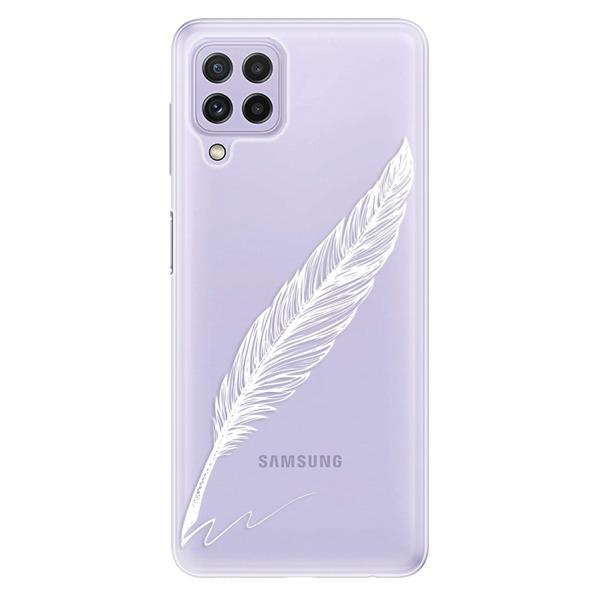 Odolné silikonové pouzdro iSaprio - Writing By Feather - white - Samsung Galaxy A22