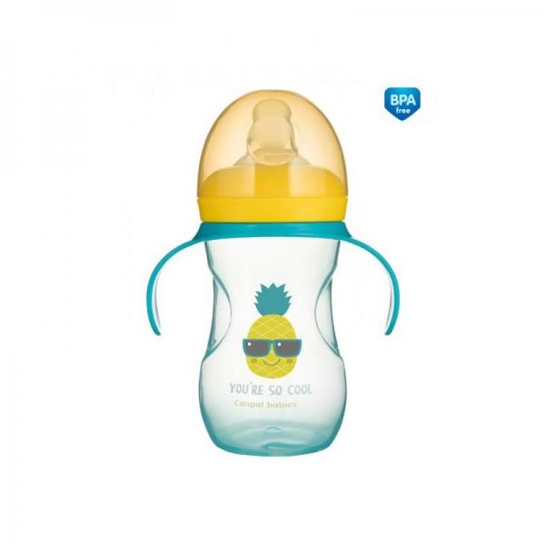Tréninkový hrníček Canpol Babies s úchyty So Cool - tyrkysový, 270 ml