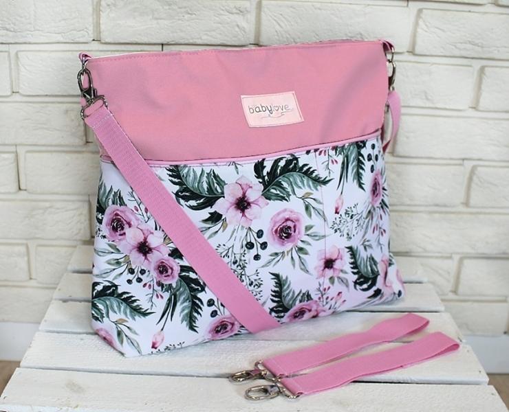 Stylová taška na kočárek Baby Nellys Hand Made - Květinky/flowers - růžová, Ce19