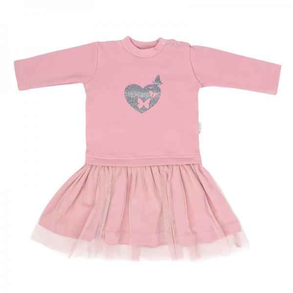 Mamatti Dětské šaty s týlem Tokio, růžové, vel. 92 - 92 (18-24m)