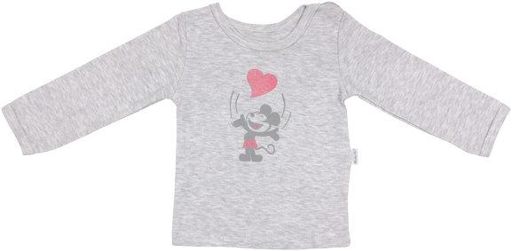 Bavlněné tričko Little mouse - dlouhý rukáv - šedé - 74 (6-9m)