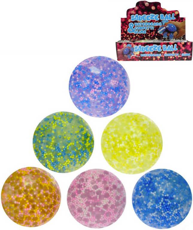 Míček anistresový balonek měkký s kuličkami 7cm na mačkání různé barvy