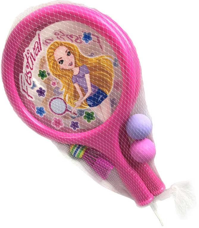 Rakety dětské bum bum na soft tenis a badminton set 2 pálky s košíčkem a 2 míčky plast