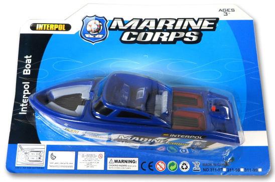 Motorový plastový člun 21cm na baterie marine corps 2 barvy na kartě