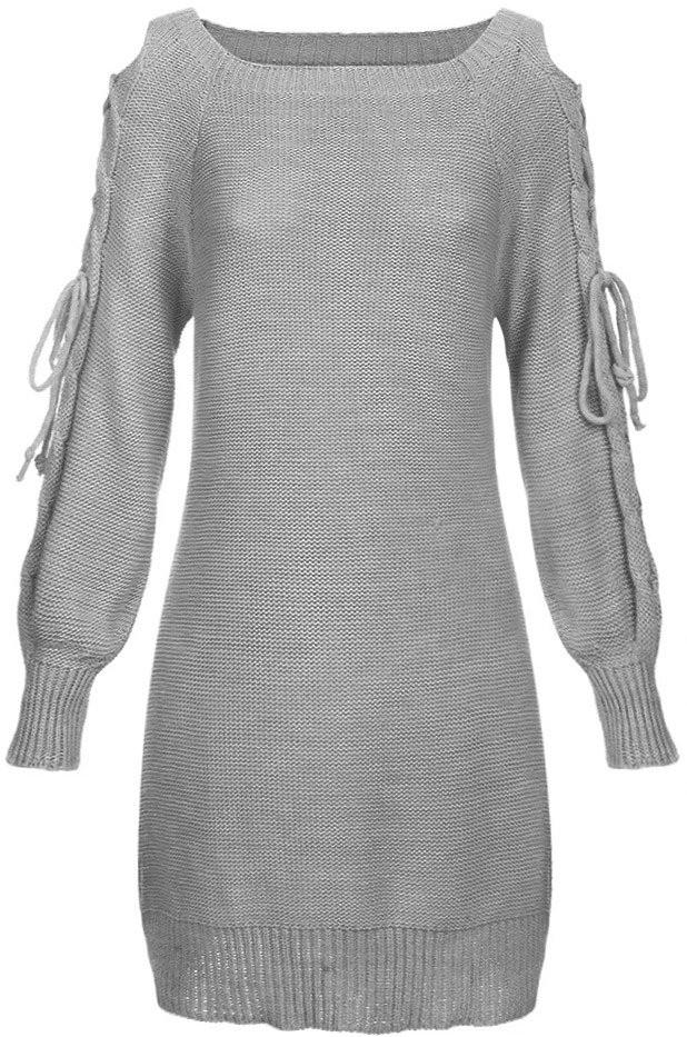 Světle šedý dámský svetr s vázáním na ramenou (113ART) - Šedá/ONE SIZE