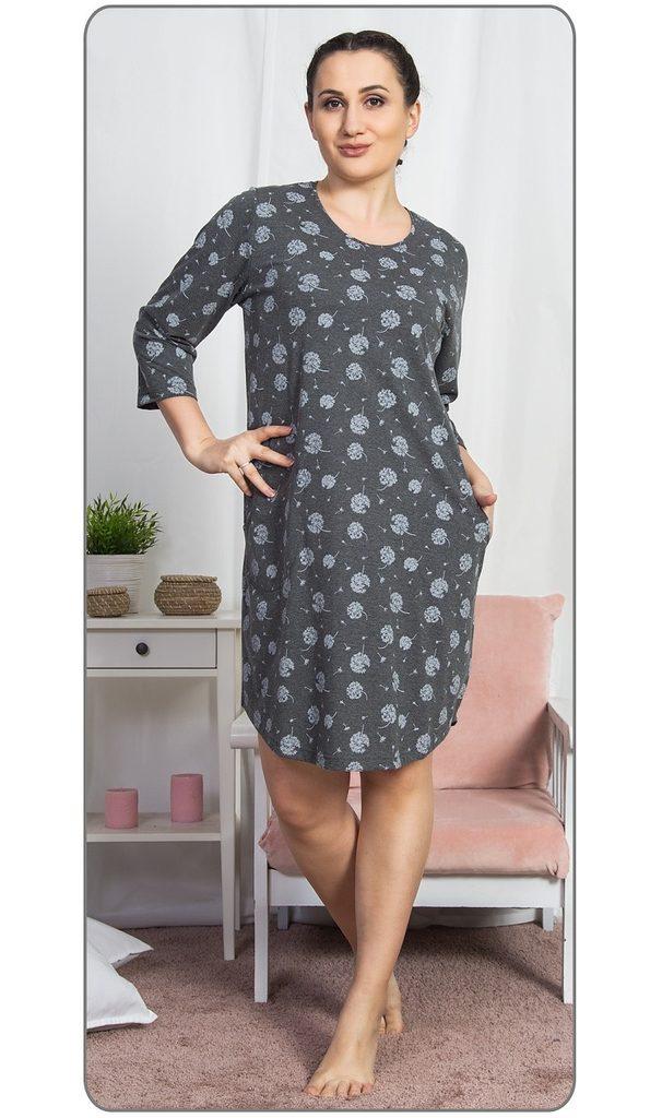 Dámské domácí šaty s tříčtvrtečním rukávem Pampeliška - tmavě šedá