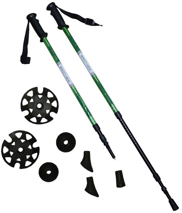 BROTHER Trekingové hole set 1 pár s příslušenstvím zelené LTH130