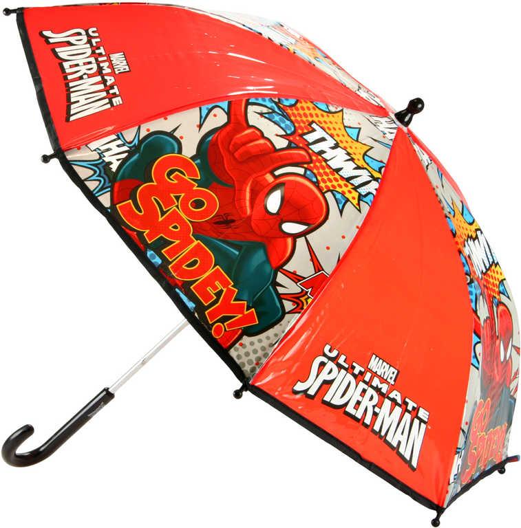 Deštník dětský Spiderman DeLuxe 60cmm manuální červený