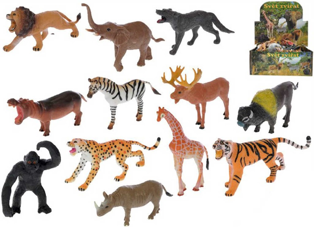Zvířátko cizokrajné safari 10cm Afrika plast 12 druhů
