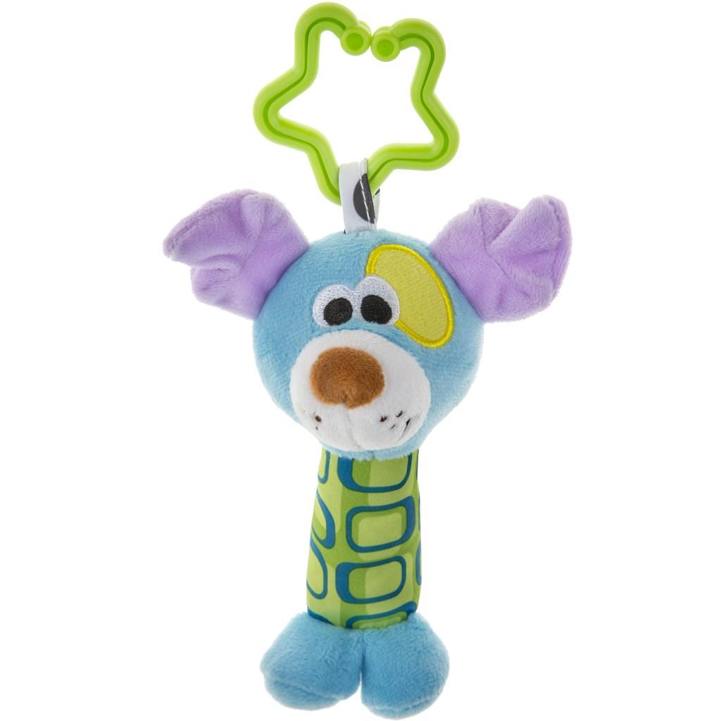 Plyšová hračka s chrastítkem Akuku pejsek - modrá