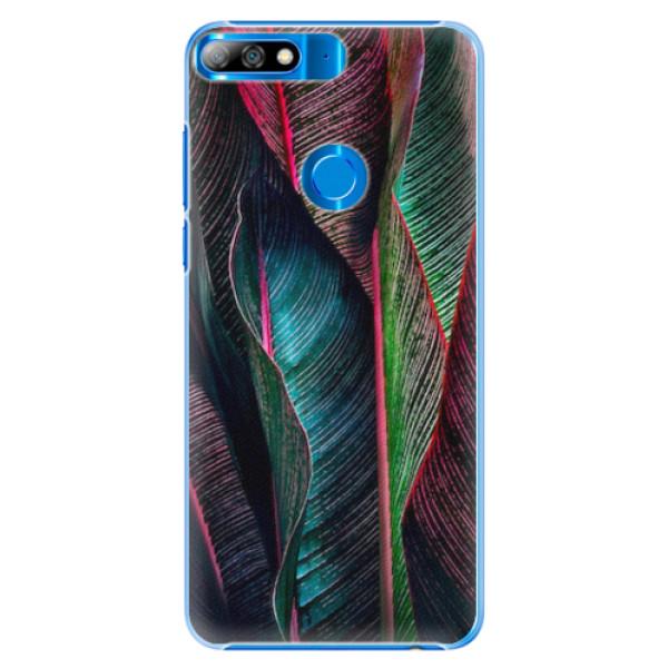 Plastové pouzdro iSaprio - Black Leaves - Huawei Y7 Prime 2018