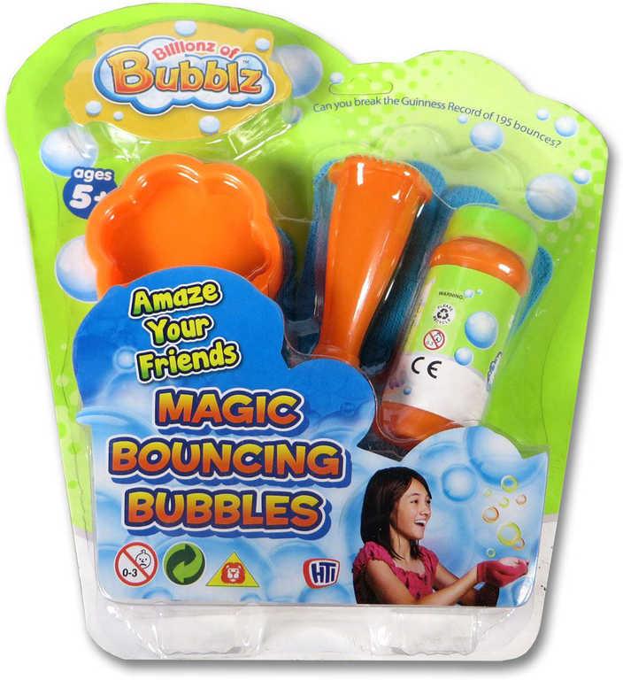Bublifuk zábavný skákající bubliny set s rukavicí a doplňky na kartě