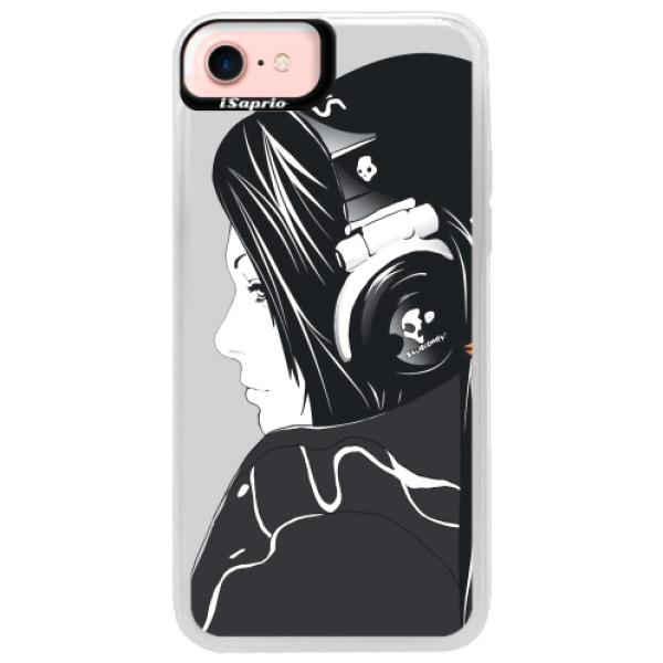 Neonové pouzdro Pink iSaprio - Headphones - iPhone 7