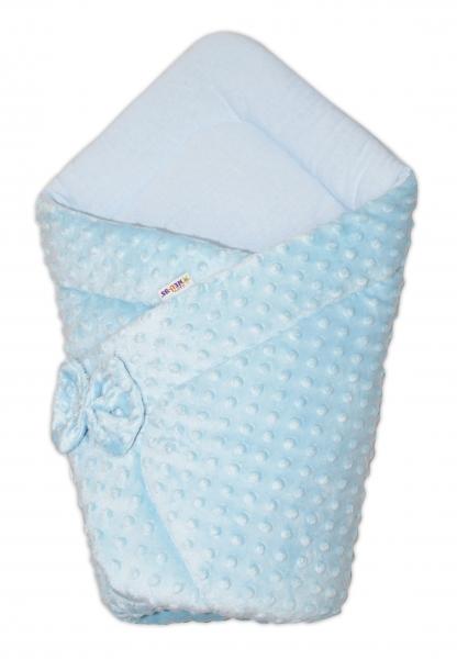 Luxusní zavinovačka s mašlí 75x75cm, Minky Baby Duo - modrá
