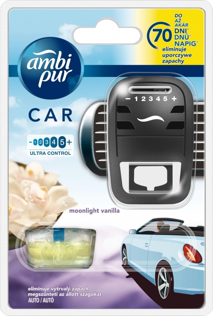 Ambi Pur Car Moonlight Vanilla osvěžovač, strojek + náplň 7 ml