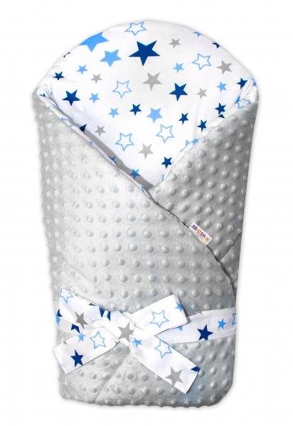 Zavinovačka Minky Baby Nellys Hvězdy a hvězdičky - modrá/granát na bílém, šedá