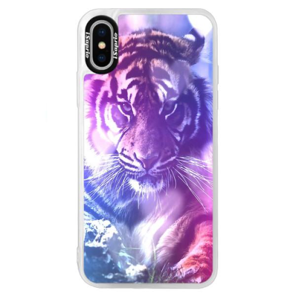 Neonové pouzdro Blue iSaprio - Purple Tiger - iPhone XS