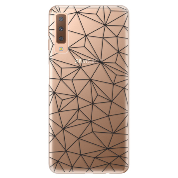 Odolné silikonové pouzdro iSaprio - Abstract Triangles 03 - black - Samsung Galaxy A7 (2018)