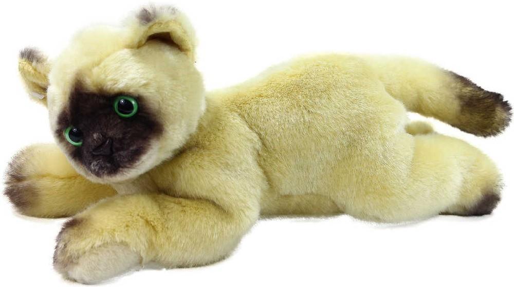 PLYŠ Kočka béžová 30 cm ležící