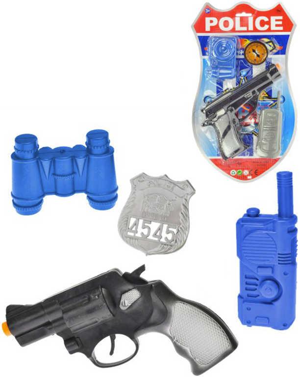 Policejní set pistole klapací 18cm + foťák/dalekohled s doplňky 4 ks