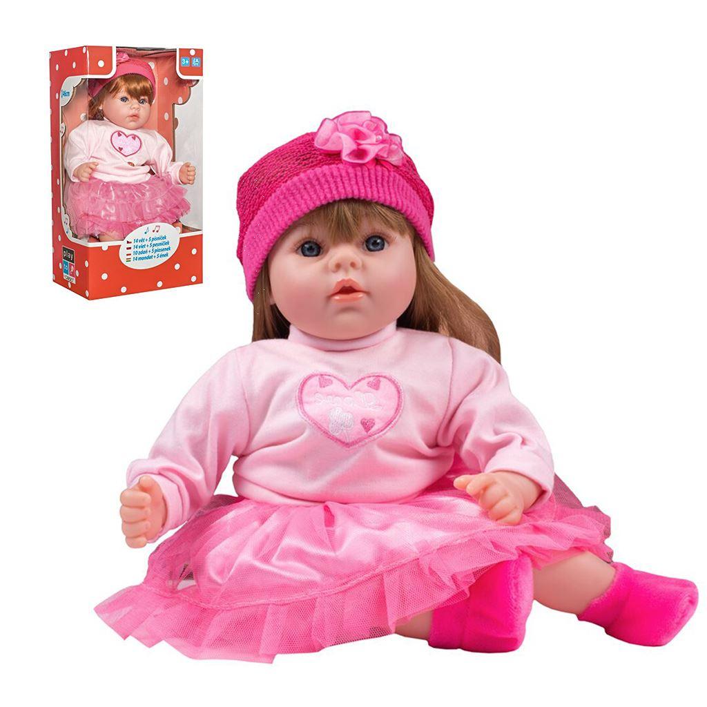 - Slovensky mluvící a zpívající dětská panenka PlayTo Tina 46 cm - růžová
